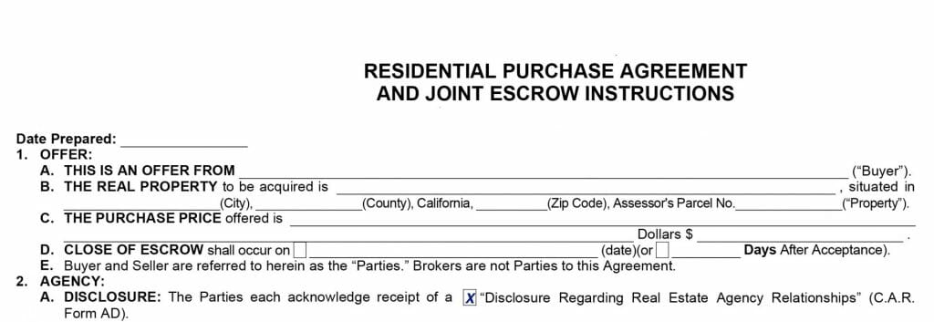 A portion of a residential purchase agreement.